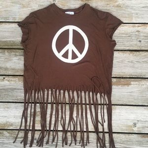 Wildfox Peace Sign Fringed Crop Top S NWOT